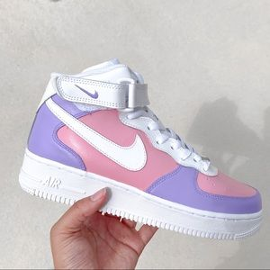 Nike Air Force 1 Pink and Purple Sorbet Custom